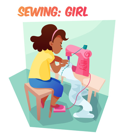 Little african american girl sewing something at machine. Children hobby illustration. Flat cartoon style about little needlewoman. Illustration