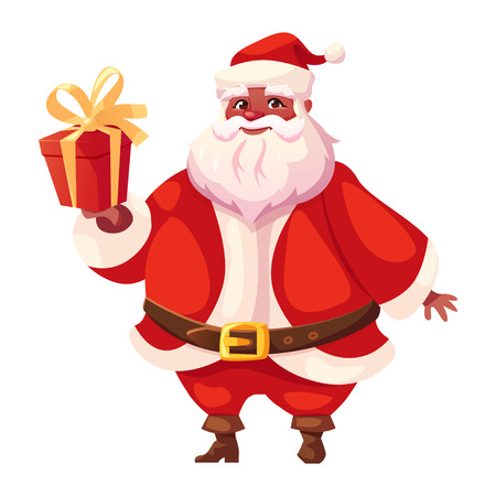 Vector illustration of african americanSanta Claus in three-quarter pose holding christmas gift. Flat cartoon style, colorful Christmas character design. Illustration