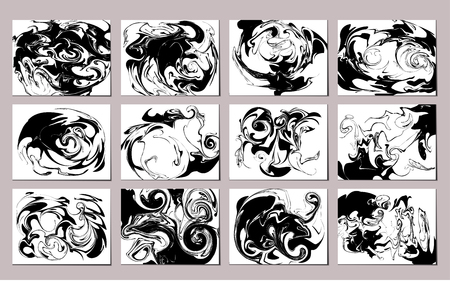 Vector illustration of marbling patterns. Black and white inky backdrops set.