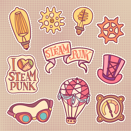 steampunk goggles: Cartoony steampunk patches set. Fashion vintage badges - gears, bulbs, lettering on ribbon and with metal heart, cylinder, goggles, air balloon and device. Halftone beige background. Illustration