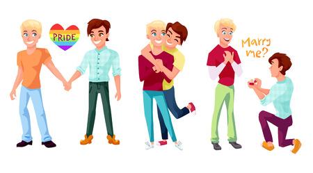 게이 커플 개념 일러스트레이션을 설정합니다. 포옹 하 고 결혼 제안을 만드는 손을 잡고 두 남자. 흰색 배경에 고립 된 문자 디자인입니다. 일러스트