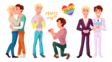 hombres besandose: Gay couple concept illustrations set. Two men kissing, making proposal and getting married. Isolated flat characters.