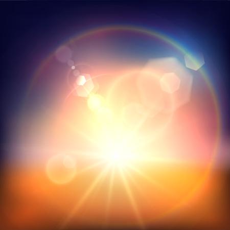Summer sun background with hexagonal lens flares Illustration