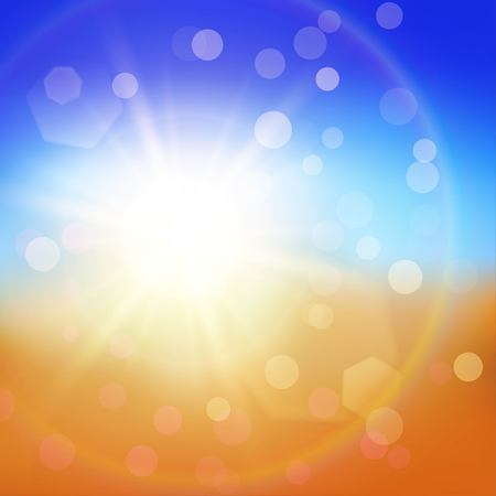 Colorful abstract summer background with sun and particles on blue and orange backdrop Illustration