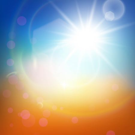 Light summer abstract background. View of orange and blue blured spots and white hot sun and beams Illustration