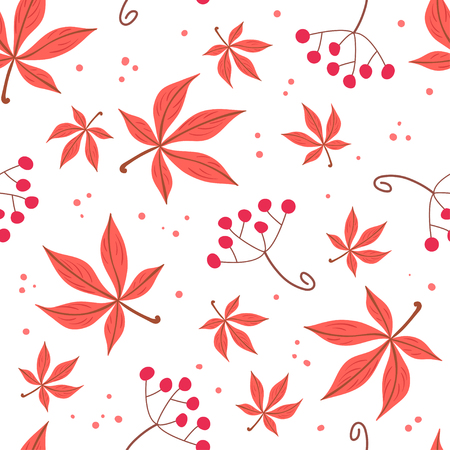 guelder rose: Seamless pattern of autumn leaves and berries. Vector illustration on white background. Backdrop for gift paper, greeting cards.
