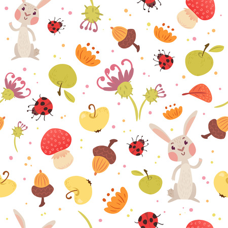 Cute autumn seamless pattern. Cartoon rabbit, bugs, mushrooms, fruits and flowers. Vector illustration on white background. Childish ornament for wrapping paper, backdrop. Çizim