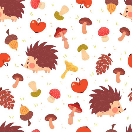 Cute autumn seamless pattern. Cartoon hedgehogs, mushrooms, acorns, apples. Vector illustration on white background. Childish ornament for wrapping paper, web backdrop. Vettoriali