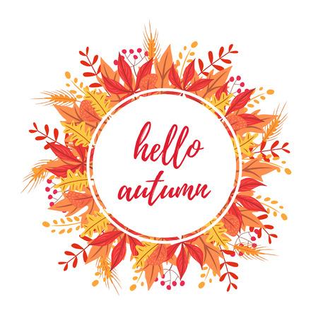 こんにちは、秋の丸いカード。白の背景にベクトル画像を分離しました。