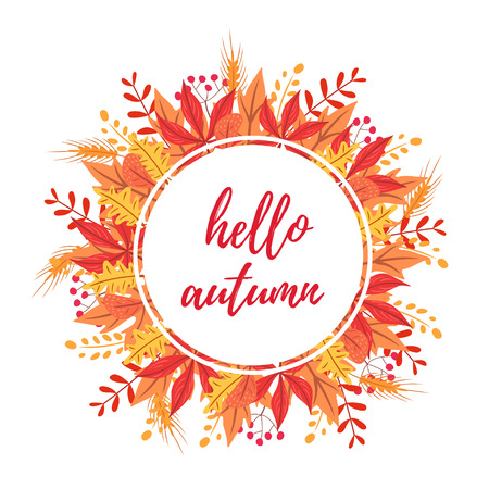 Hello autumn rounded card. Isolated vector illustration on white background.