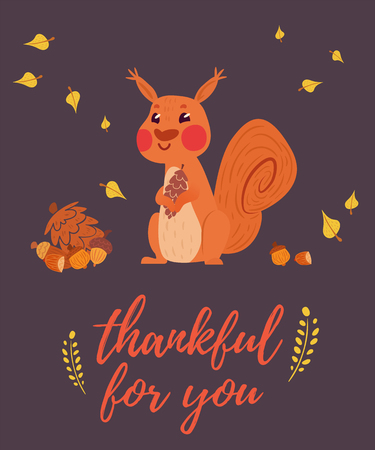 Thankful for you greeting card with squirrel holding cone. cones, nuts and leaves in cute simple composition. Dark purple background.