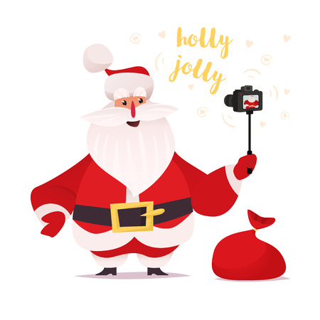 Santa Claus recording himself on proffesional camera. Vector cartoon flat character design on white background. Holly jolly sample text and red bad in composition. Illustration