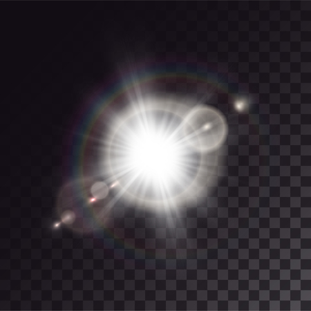 White exploded star with lens flare and light effects. Halo, rainbow and sparkles on dark transparent background.