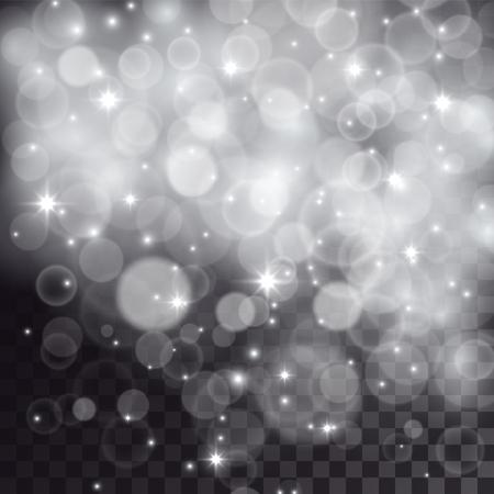떨어지는 눈, 입자 및 투명 어두운 배경에 별처럼 조명 효과. 축제 크리스마스 일러스트입니다.