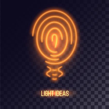 Copper colored neon bulb icon. Orange light logo with soft orange shining