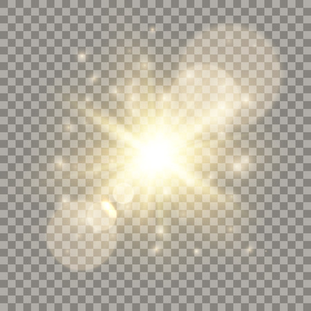 Golden lens flare light effect. Sparkling glares, particles and flash.