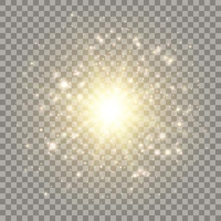 Golden explosion with light effects. Particles, sparkles, flares on dark transparent background. Ilustração