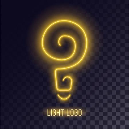 Light spiral neon design. Bulb retro icon illustration. Illustration