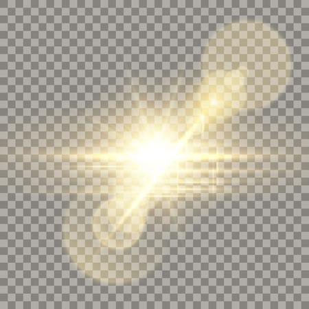 Golden lens flare camera effect.