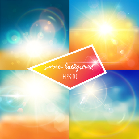 Bright blue, yellow, green and white summer backgrounds. Shiny suns and realistic lens flare effects.