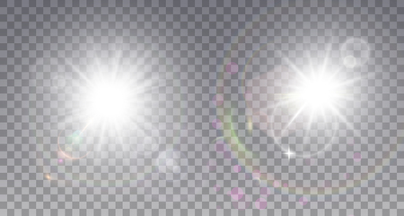 Two white sun with lens flare. Colorful realistic particles, sparkles and halo.