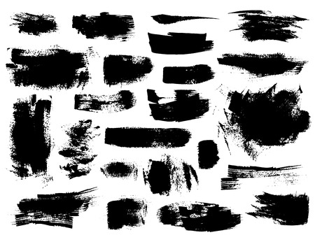 Set of black vector brush strokes on white background. Painted grunge stripes, spots and blobs