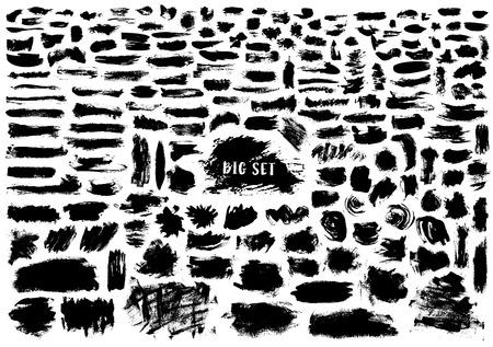 Giant set of black brush strokes isolated on white background. Stock Illustratie