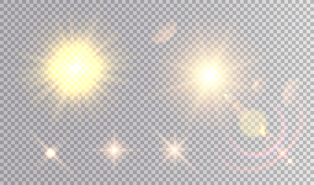 Set of golden light effects. Several suns with flare effect, realistic stars.