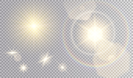 Set of different light effects. Several suns with flare effect of hexagonal bokeh and rainbow halo, realistic glares.