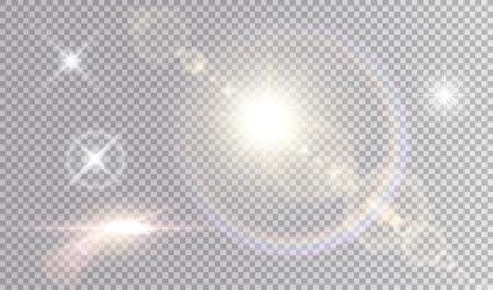 Zestaw błyszczących efektów świetlnych. Kilka białych małych gwiazd, słońce z rozbłyskiem obiektywu i tęczową aureolą, blask kinowego statku kosmicznego.