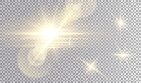 Golden lights set. Beatiful cosmic star with  a lot of horizontal beams and lens flare effects, small glares.