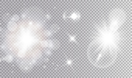 White lights cosmic design set. Soft sparkling bokeh cloud, different stars, big soft outburst with lens flare effect.