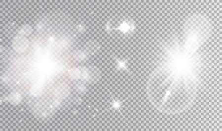 Jeu de conception cosmique de lumières blanches. Nuage bokeh étincelant et doux, étoiles différentes, grande explosion douce avec effet de lumière parasite. Banque d'images - 94154165