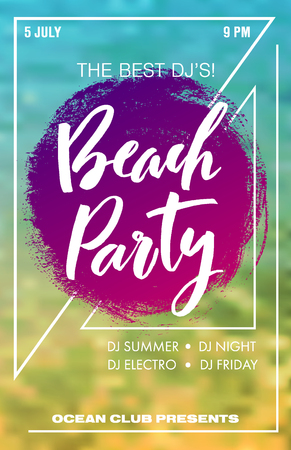 Beach party summer music poster. Colorful invitation to party with hand-drawn texture and lettering. Blurred water on background. Illustration