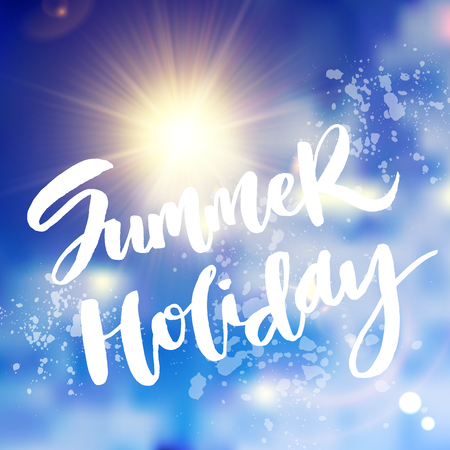 Summer holiday lettering with realistic sun on blurred sky background. Decorated with sparkles and lens flares.