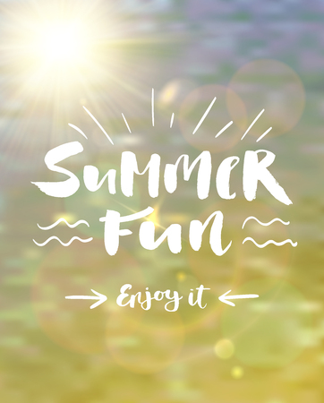 Summer fun lettering decorated with blurred ocean water and realistic sun and lens flare effect.