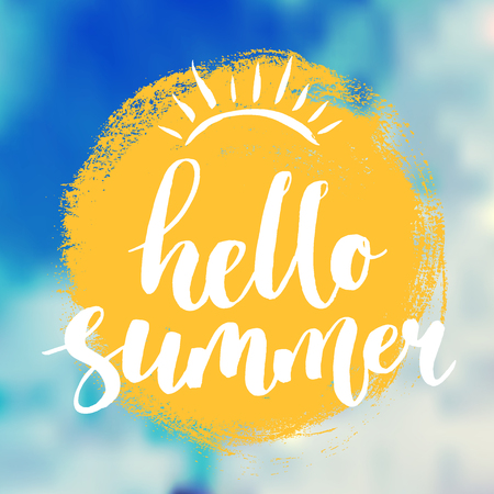 Hello summer lettering on hand-drawn yellow sun circle at blurred sky background.