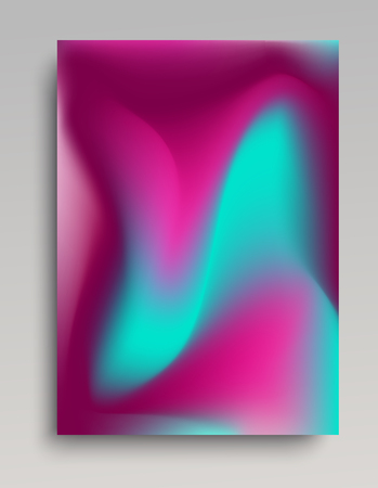 Volumetric gradient poster in purple and turquoise colors.