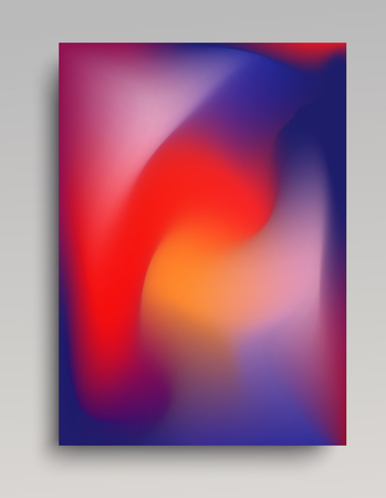 Dark blue and red gradient poster in vertical format. Naturally looking colorful volumetric gas.  イラスト・ベクター素材