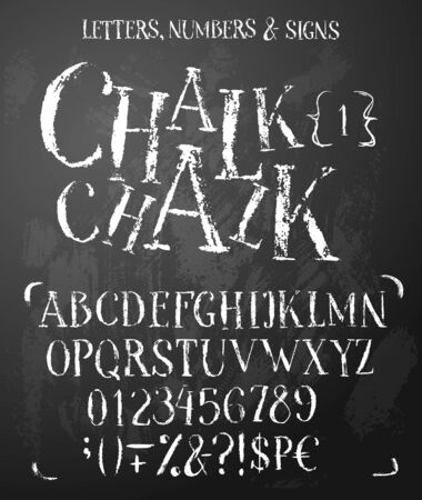 Chalk latin serif alphabet in grunge style. Good for cafe, bar, bakery boards. Contain uppercase letters, numbers, symbols, money signs.