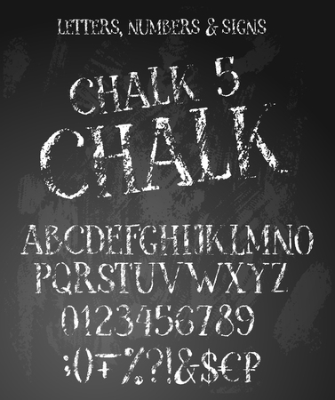 Chalk grunge alphabet with english letters, numbers and special symbols.