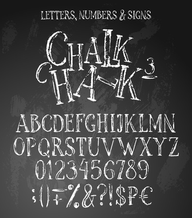 Chalk english alphabet conatins uppercase letters, numbers and special symbols, including money signs. White grunge characters on textured background.