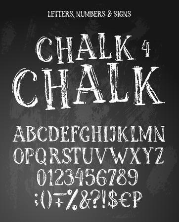 Chalk english alphabet contains uppercase letters, numbers, signs. White characters on textured background. 写真素材 - 123148619