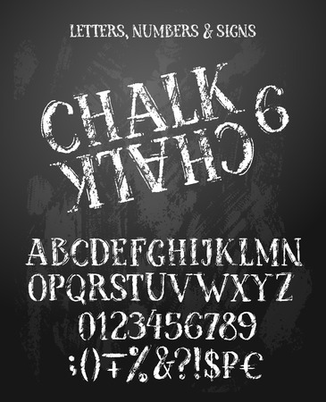 Chalk english alphabet with natural texture on blackboard. Uppercase letters, numbers and symbols. Contains also money signs. 写真素材 - 123148622