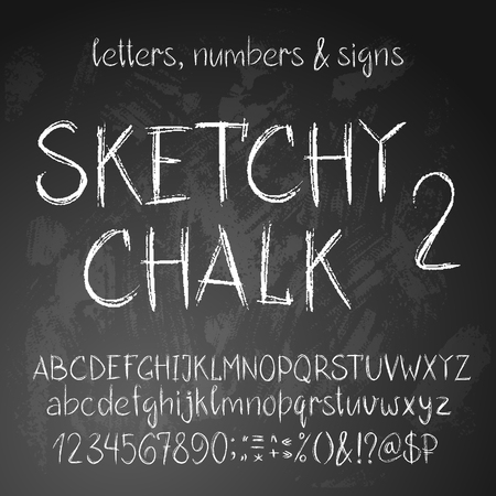 Sketchy chalk latin alphabet. Full set of letters, numbers and symbold. Rough textured style.