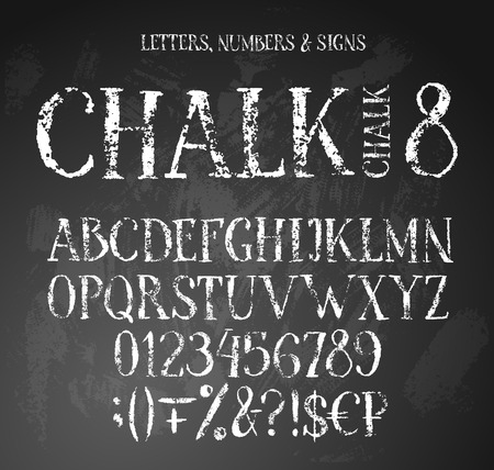 Chalk textured alphabet with uppercase english letters, digits, signs and money symbols