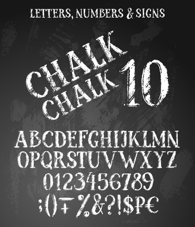 Chalk vintage style distressed letters set. Alphabet contains uppercase symbols, numbers, special signs.