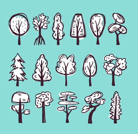 Doodle white trees set with dark outline on blue background