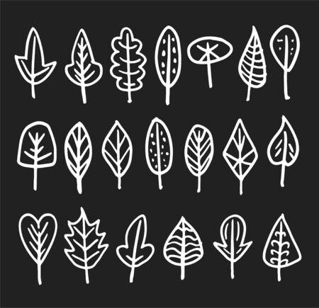 Set of doodle white leaves on dark gray background