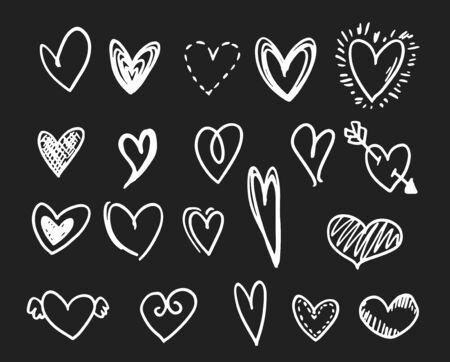 White doodle hearts set on dark gray background